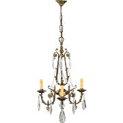 Vintage French Bronze and Crystal 3 Light Chandelier