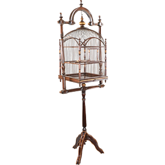 Antique Victorian Mahogany and Wire Hanging Birdcage with Original Stand