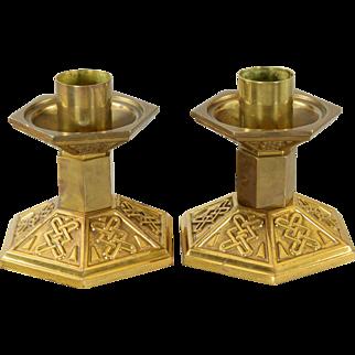 Pair Antique Embossed Brass Church Candlesticks
