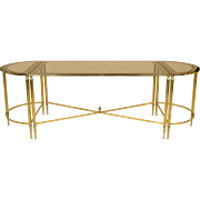 French Brass and Glass Cocktail or Coffee Table Trio Set