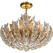 Mid-Century Gilt Brass Palwa Basket Form Chandelier from Germany