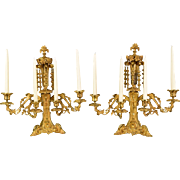 Pair Antique Gilded Brass Candelabra
