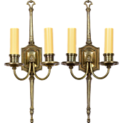 Pair Vintage English Bronze 2-Light Sconces