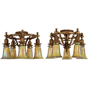 Pair Vintage 1925 Bronze Horn & Brannen 5 Light Fixtures