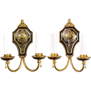 Pair Brass Horn & Brannen 2 Light Wall Sconces