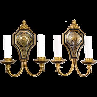 Pair Brass Horn & Brannen 2 Light Wall Sconces