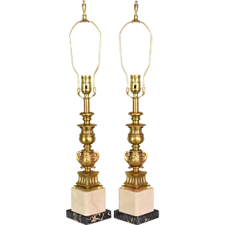 Pair Vintage Bronze and Marble Candlestick Table Lamps