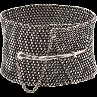 Vintage John Hardy Sterling Silver Mesh Cuff Bracelet - Dagger Toggle Closure