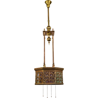 Antique Brass and Slag Glass Hanging Light Fixture - Reticulated Octagonal Shade