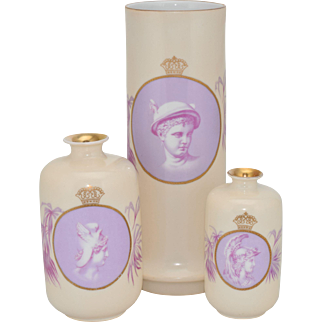 Set of 3 Rosenthal and Company German Porcelain Cameo Vases -Mars / Ares, Mercury / Hermes, Perseus