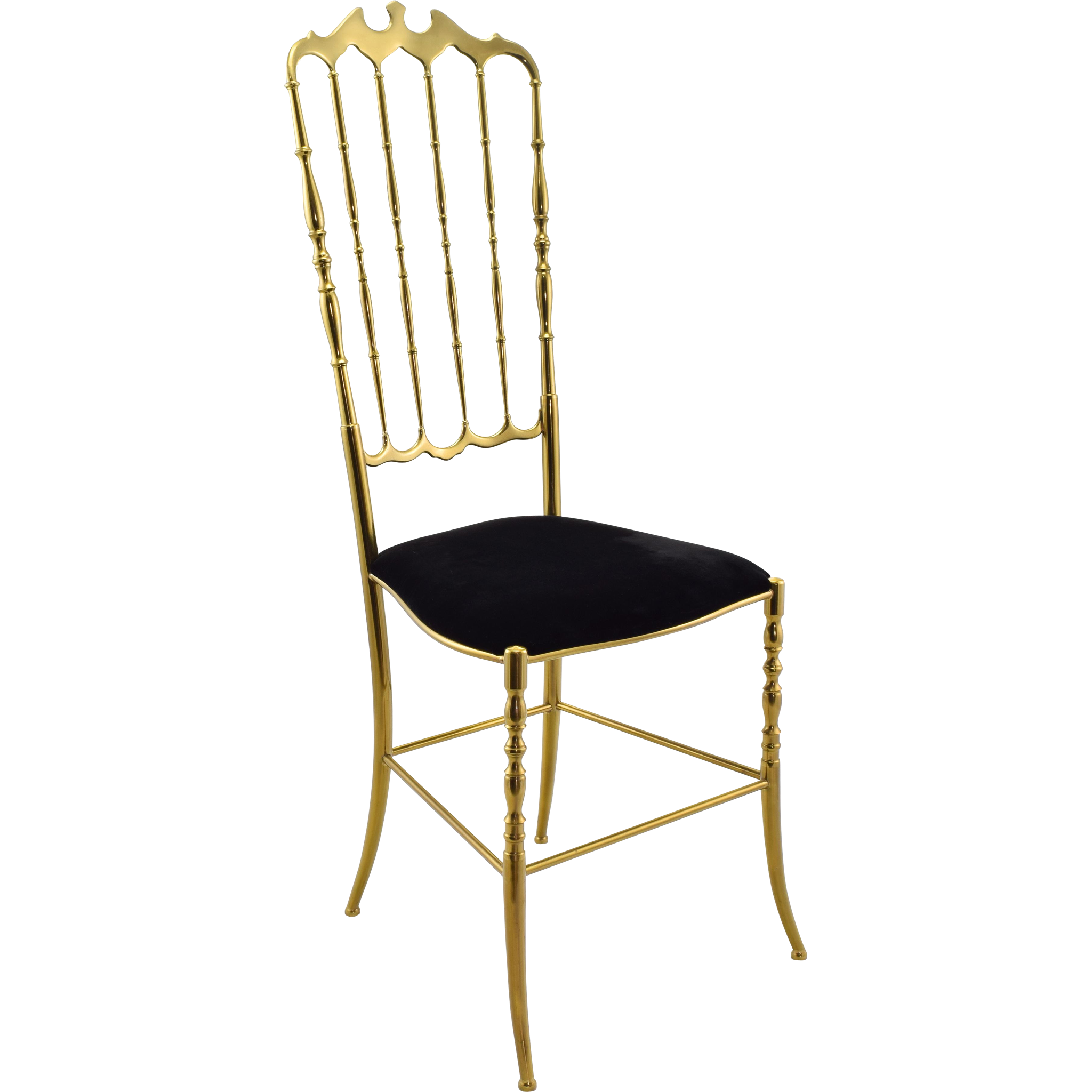 Vintage Chiavari Brass Chair with Black Velvet Seat