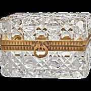 Antique French Baccarat Cut Crystal Casket Box - Dore Bronze Mounts