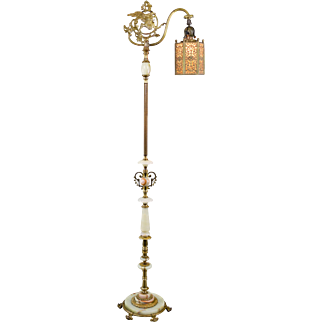 Vintage Rembrandt Onyx Brass Winged Griffin Bridge Floor Lamp with Brass and Slag Glass Hexagon Shade