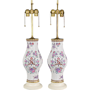 Vintage Pair French Porcelain de Paris Lamps with Hand Painted Enameled Flowers, Shields and Rearing Goats