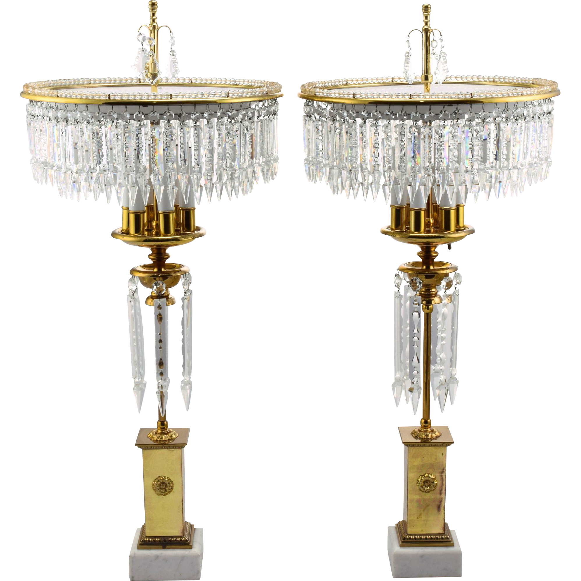 Pair Elegant Italian Adjustable Tiered Cut Crystal, Brass and Marble Chandelier Lamps