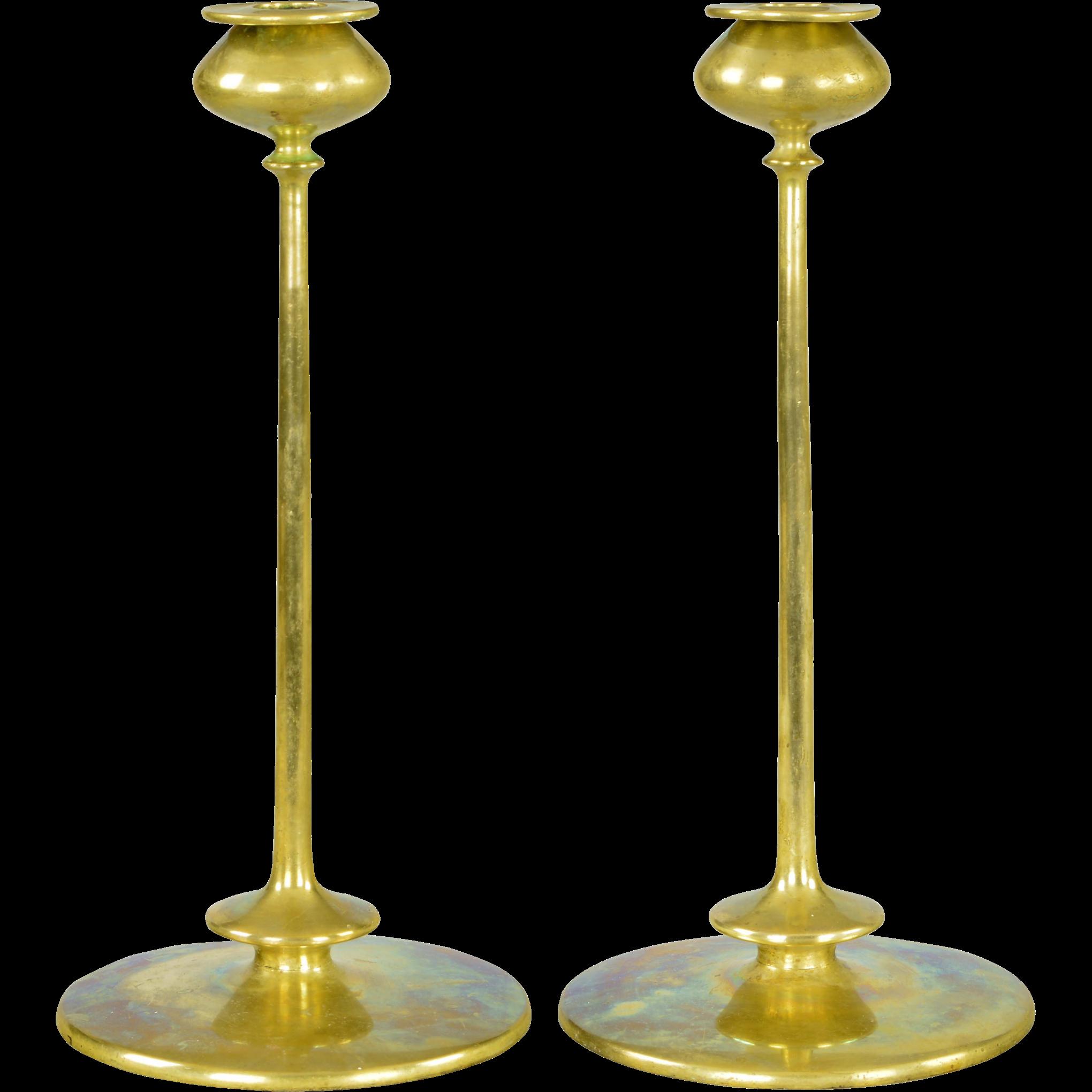 Pair Antique Robert Jarvie Beta Brass Arts and Crafts Candlesticks