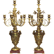 Antique Pair French Bronze Candelabra - Putti and Rams - Arrows - 19th Century