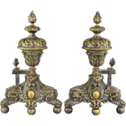 Pair Antique 19th Century French Andirons - Hairy Paw and Ball, Flame Finials