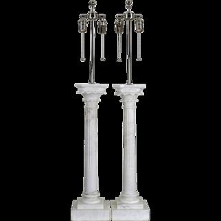 Pair Vintage Carved Italian Lamps - Monumental Corinthian Columns