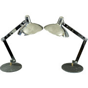 Pair Articulated Italian Chrome Mid Century Desk Lamps
