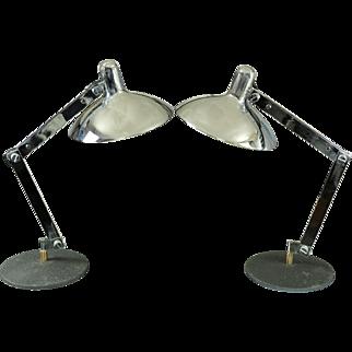 Pair Articulated Italian Chrome Mid Century Desk Lamps