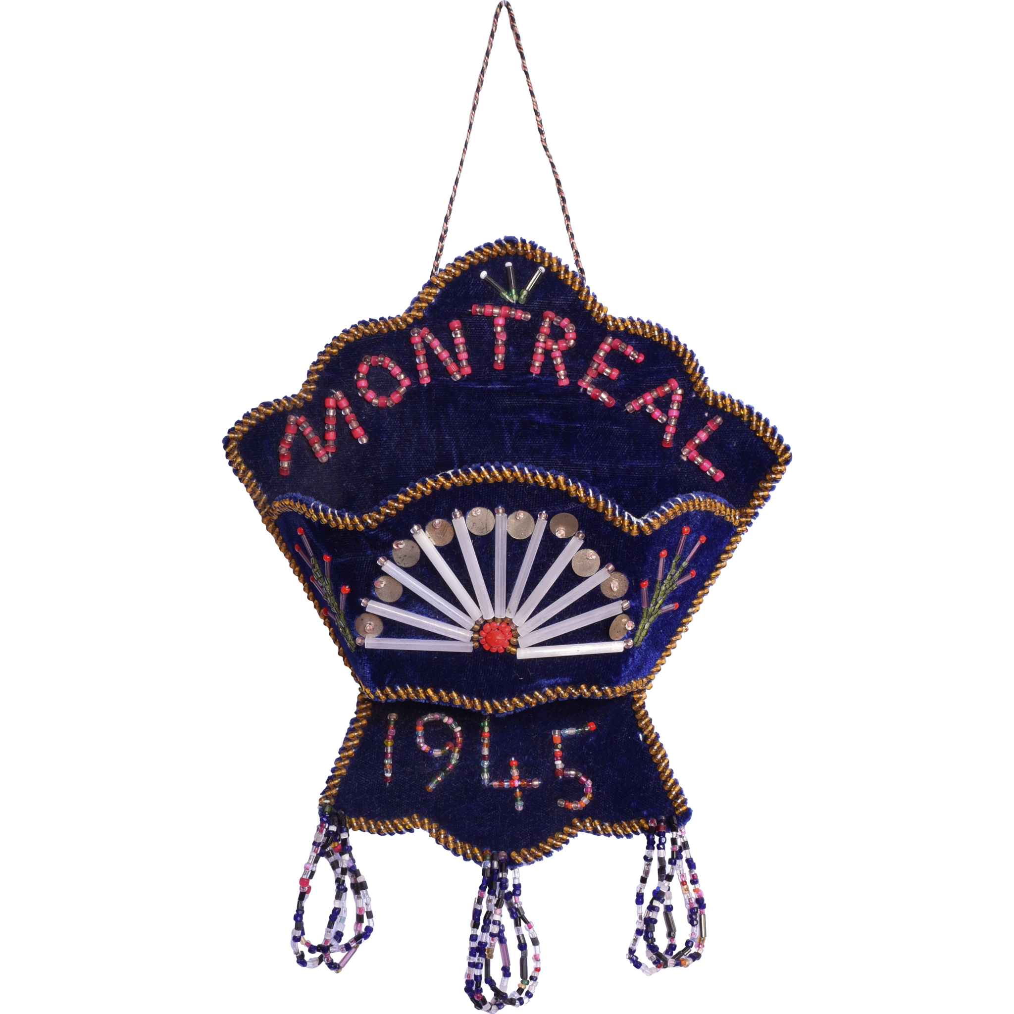 Vintage Native American Iroquois Velour Beaded Wall Pocket - Montreal 1945