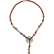 Vintage Carved Jade Chain and Carnelian Beaded Necklace - Jade Disc