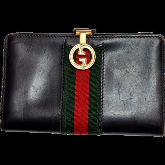 Vintage Gucci Italian Leather Wallet - Dark Navy Blue Reg / Green Stripe - Authentic