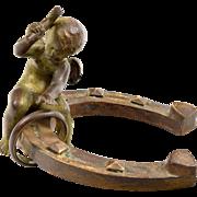 Vintage Real Vienna Bronze 'Valentine' Cherub Blacksmith - Ring on Horseshoe