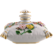 Antique Meissen Porcelain Cushion / Pillow Perfume Scent Bottle - Flowers, Gilded Tassels - Scarce
