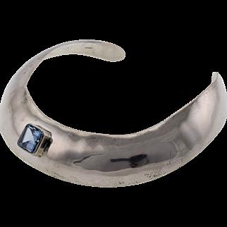 Vintage Wide Sterling Silver Choker Necklace Blue Topaz