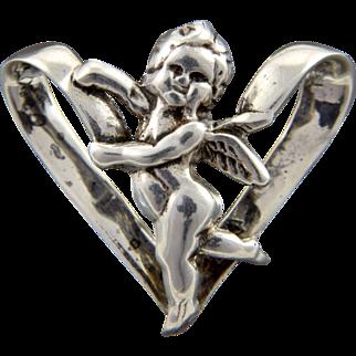 Vintage Sterling Silver Heart Cherub Slider Pendant