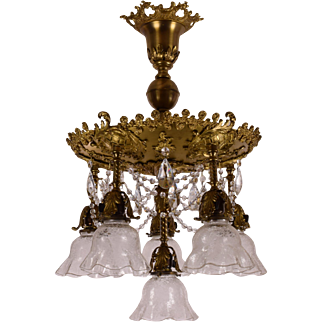 Antique 6 Light Brass Chandelier Fixture Roses, Etched Shades, Crystals