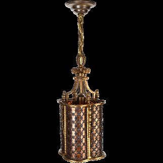Vintage Brass Pendant Quatrefoil Light Fixture with Bent Mica