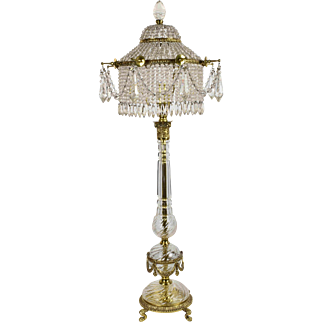 Vintage Cut Crystal and Cast Brass Lamp - Beaded Crystal Shade