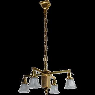 Antique Wakefield Brass Mission 4 Light Fixture