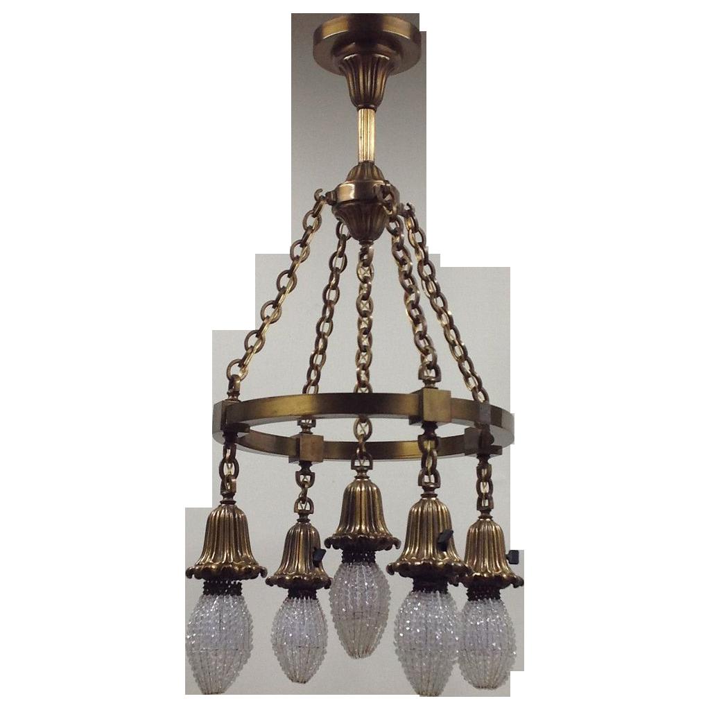Antique Brass Light Fixture - Beaded Bulb Covers