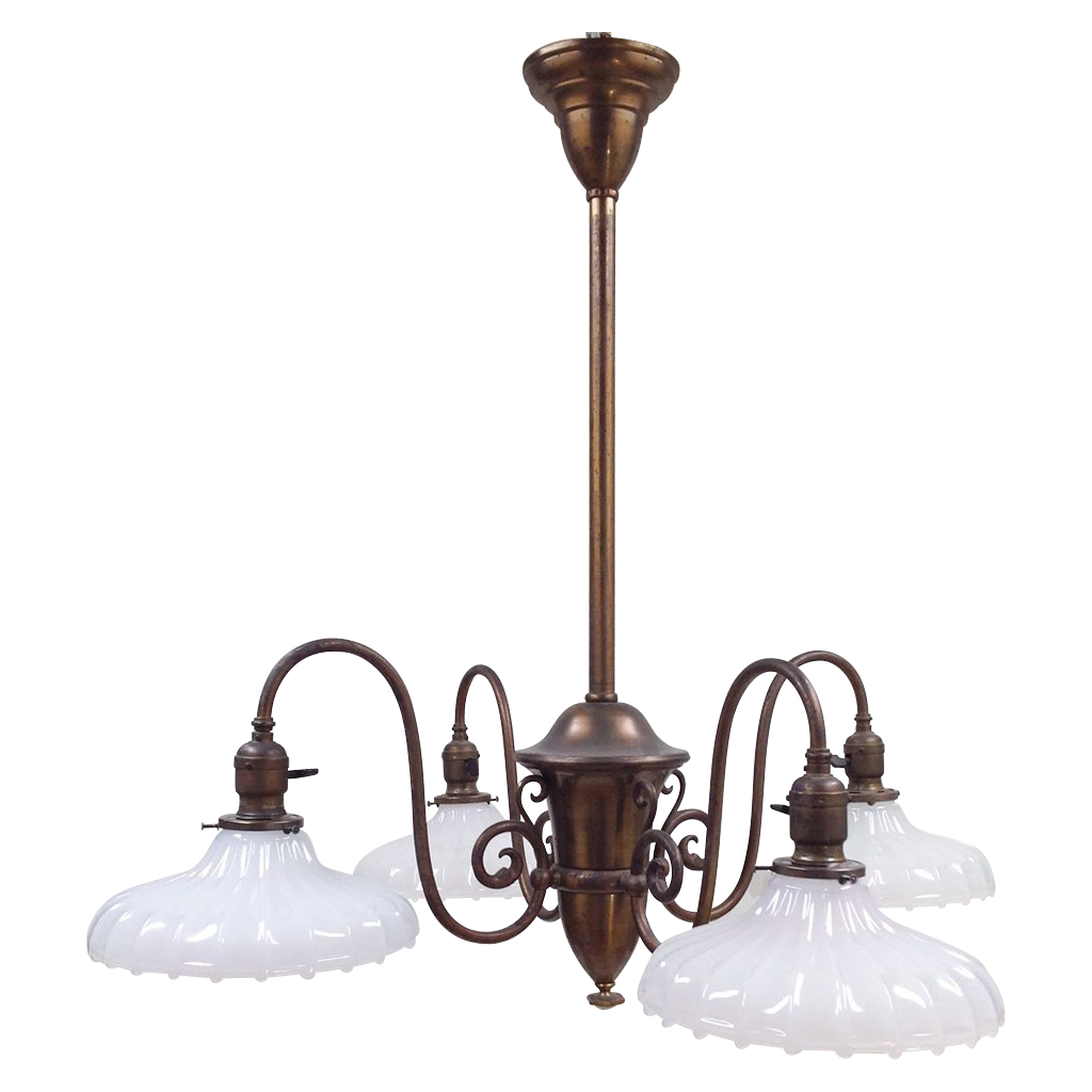 Antique 4-Light Fixture - Large Shades