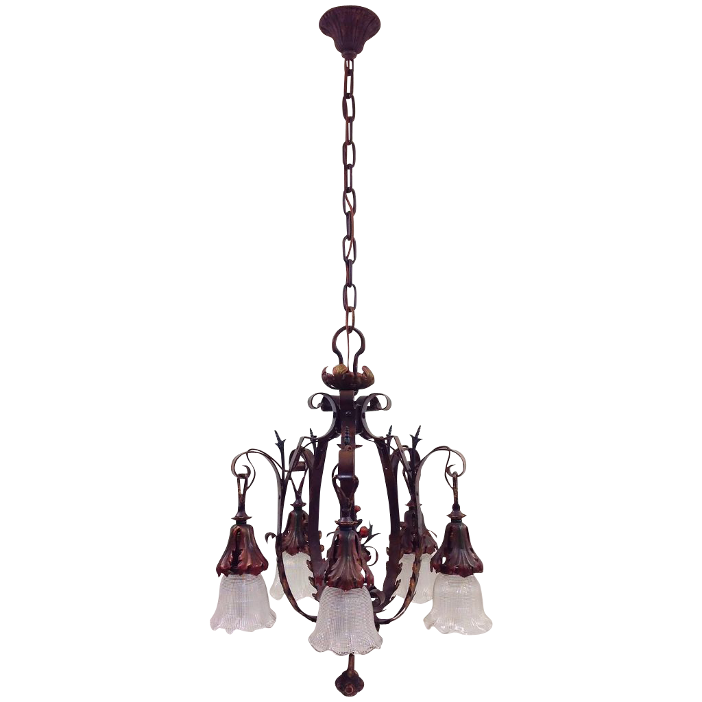 Vintage Foliate Chandelier Polychrome 5-Lights
