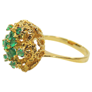 Vintage 18K Gold Emerald Ring