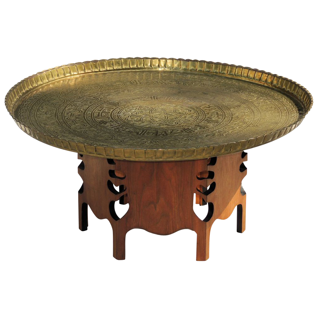 Vintage 1950s Moroccan Brass Tray Table