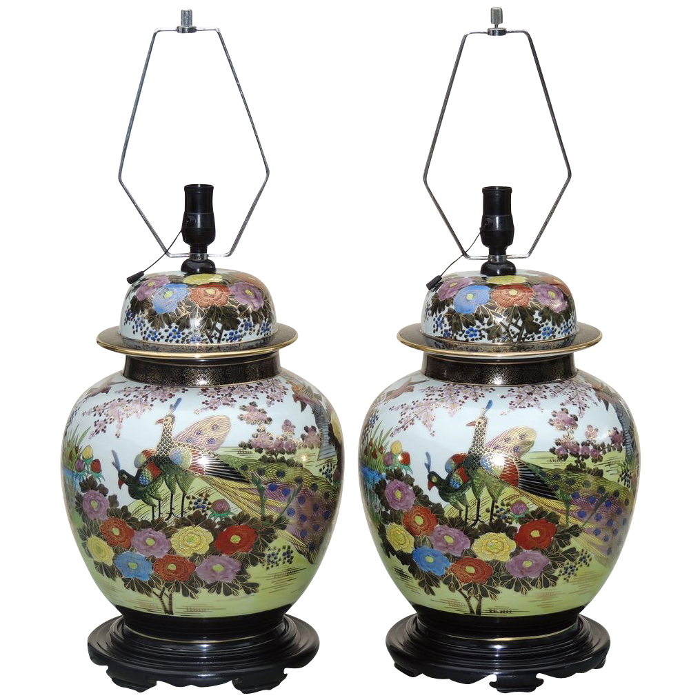 Large Pair Ginger Jar Lamps Japanese Kutani Mid Century