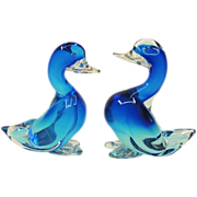 Pair Large Blue Seguso Murano Glass Ducks