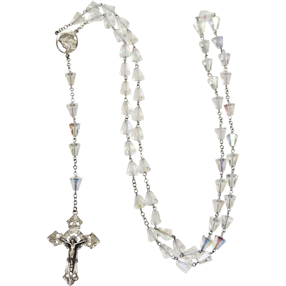 Vintage Sterling Silver Amp Crystal Rosary Marked Chapel