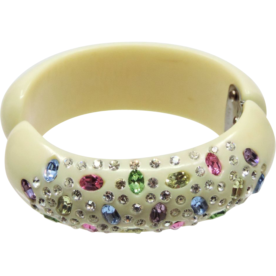 Vintage Weiss Clamper Bracelet w/Colored Rhinestones