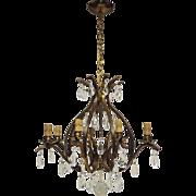 Vintage 8-Light W.German Chandelier - Brass and Crystal