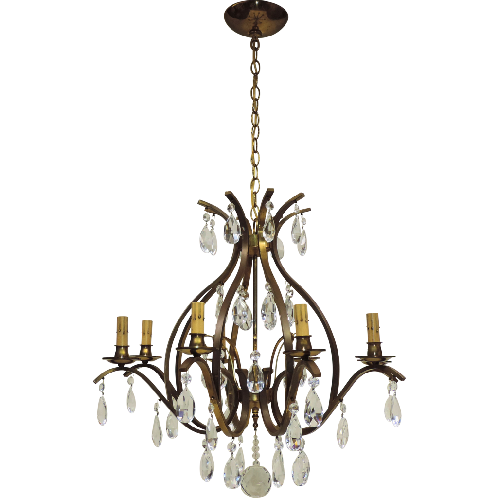 Vintage 8-Light W.German Chandelier - Brass and Crystal