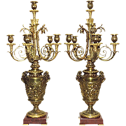 Pair Antique French Bronze Candelabras - 19th Century - Putti and Rams