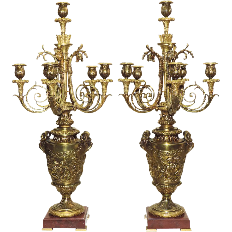 Pair Antique French Bronze Candelabra - 19th Century - Putti and Rams