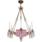 Antique Cased Pink Opaline Glass Continental Chandelier
